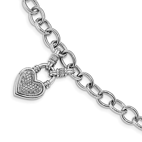 925 Sterling Silver Cubic Zirconia Cz Heart Dangle Toggle Bracelet 8 Inch/love Link Fine Jewelry Gifts For Women For Her ()