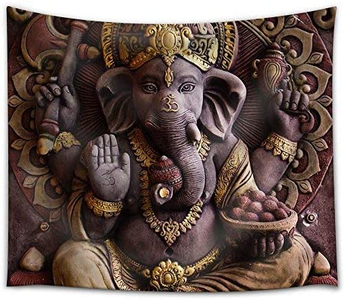 wall26 – Sculpture of Gannesa Hindu God on The Orange Wall – Fabric Tapestry, Home Decor – 68×80 inches