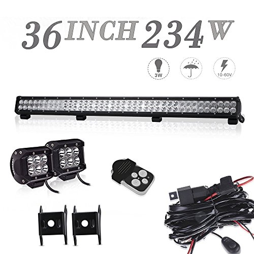DOT Approved 36In Combo Led Light Bar + 4In Pods Cube Fog Lights For tractor truck chevy silverado 4 wheeler honda pioneer polaris ranger rzr ford f150 f250 f350 toyota tacoma On Roof/Bumper