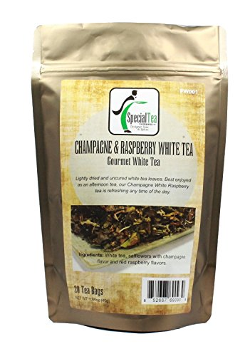 Special Tea White Champagne Raspberry White Tea, 20 Wrapped Tea Bags, 1.41 Ounce