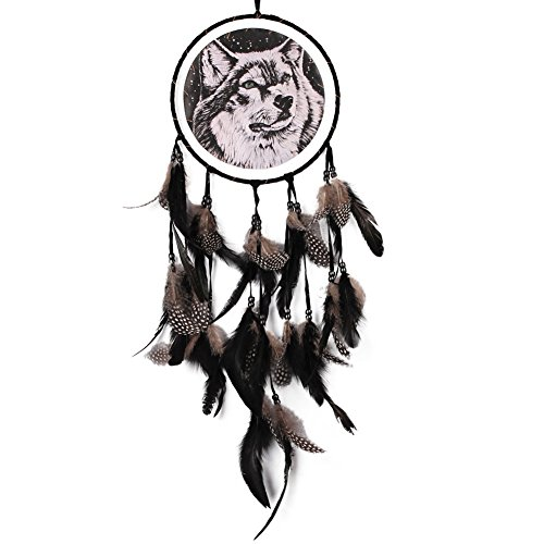 Whitelotous Handmade Black Feathers Wolf Dream Catcher Car Window Wall Hanging Decor