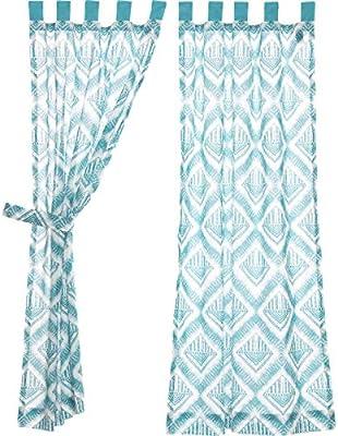 VHC Brands Boho /& Eclectic Coastal Window Curtains Karina Green Tab Top Curtain Panel Pair