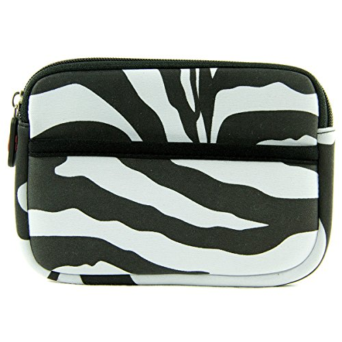 12000 Prints - Zebra Print Neoprene On-The-Go Storage Case for Cheero Ingress Power Cube 12,000mAH Portable External Battery Charger Power Bank