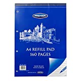 A4 Premier Tape and Top Bound Refill Writing Notepad, 160 Pages - Ruled with Margin, 4 Holes