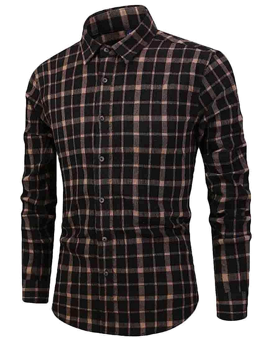 Spirio Men Western Regular Fit Casual Cotton Plaid Long Sleeve Button Down Shirt