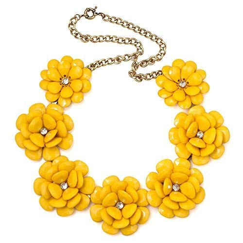 LuckyJewelry Vintage Women Yellow Flower Choker Chunky Statement Bib Pendant Necklace Golden Chain