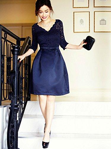 Pizzo Da Scollatura Delle V Vestito Blu Estate A Elegante Casf Donne Partito Reale q1gxMwtB