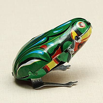 Funny Wind Up Jumping Frog Toy Clockwork Spring Tin Toy With Key
