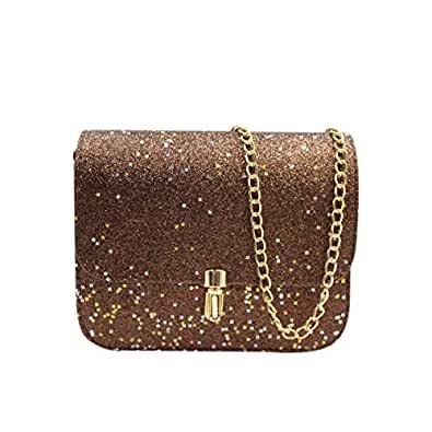 Chain Purse Evening Bag Small Shoulder Crossbody Bag Fashion Glitter Wedding Party Handbag Clutch for Women Girls brown Size: One Size