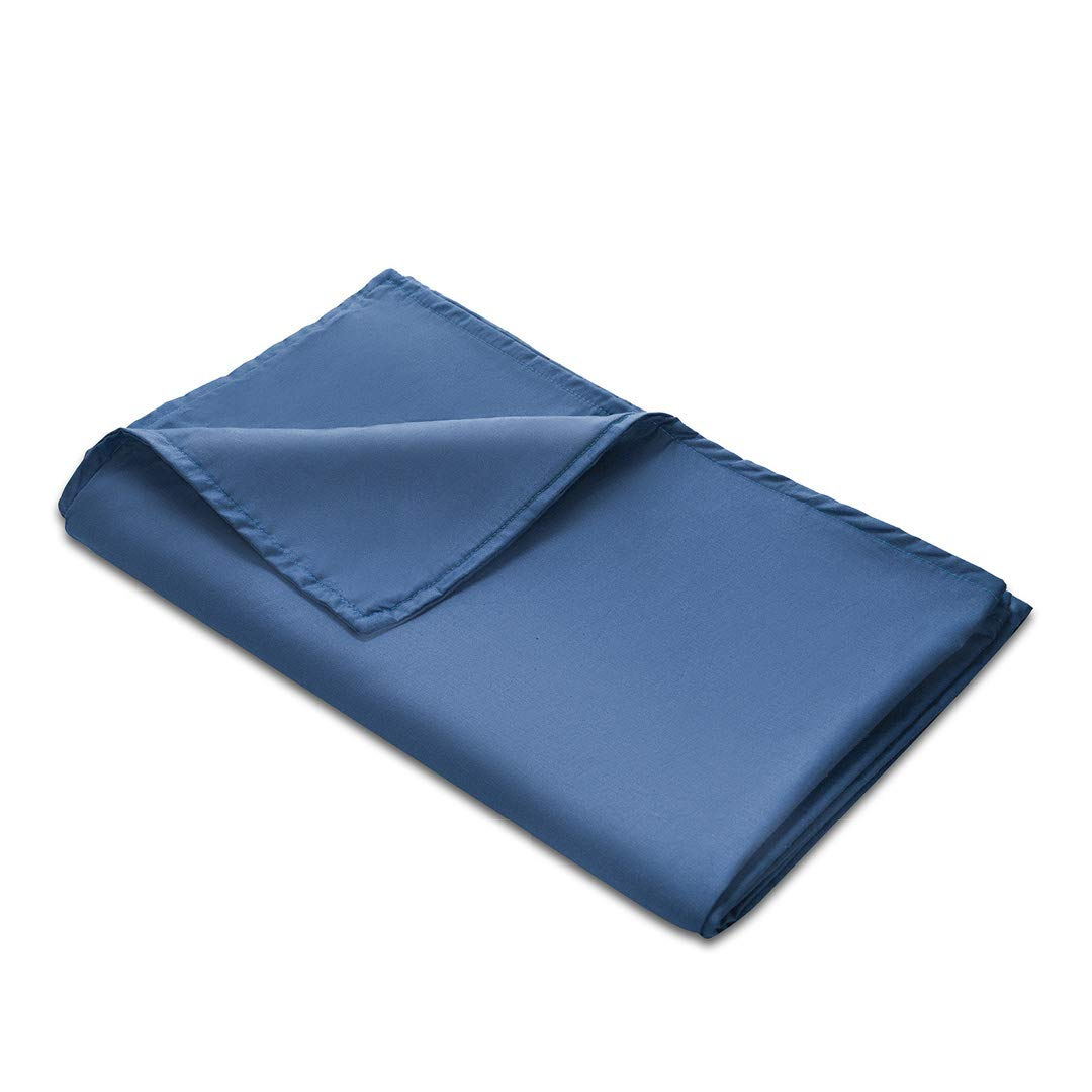 Quility Premium Adult Removable Duvet Cover for Weighted Blanket | 60''x80'' | Full Size Bed | 100% Cotton Cover Fabric | Blue