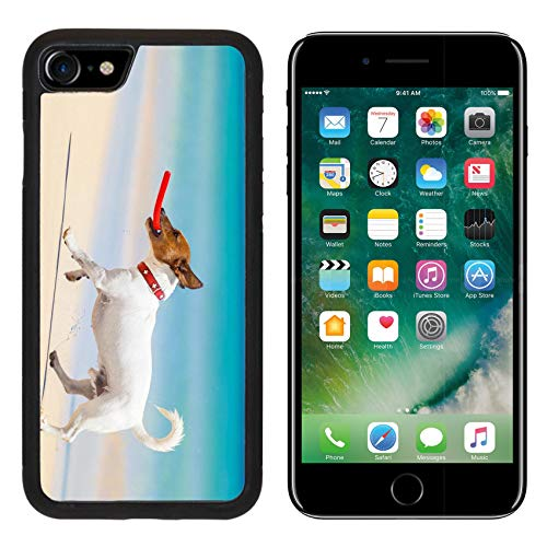 MSD Apple iPhone 8 Case Aluminum Backplate Bumper Snap Case Image ID 28835611 Dog catching a red Flying disc and Running at The Beach