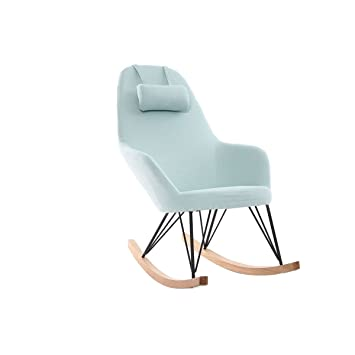 Fauteuil Rocking Vert Relax Miliboo D'eau Tissu Chair Pieds yIbf6Y7gv