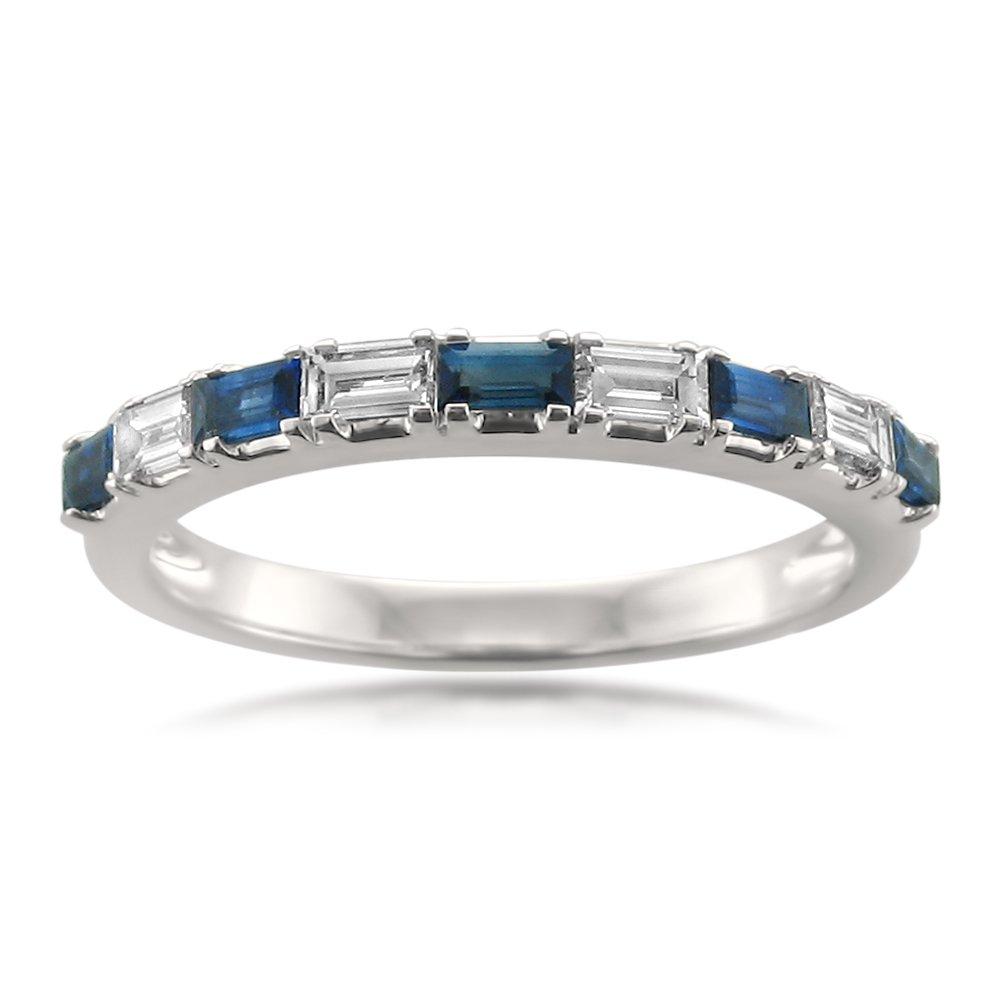 14k White Gold Baguette Diamond & Blue Sapphire Bridal Wedding Band Ring (1/2 cttw, I-J, VS2-SI1), Size 5