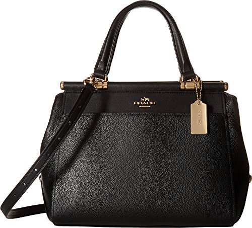 Polished Black Leather Satchel Womens Li Drifter COACH Pebble in xpOzO1
