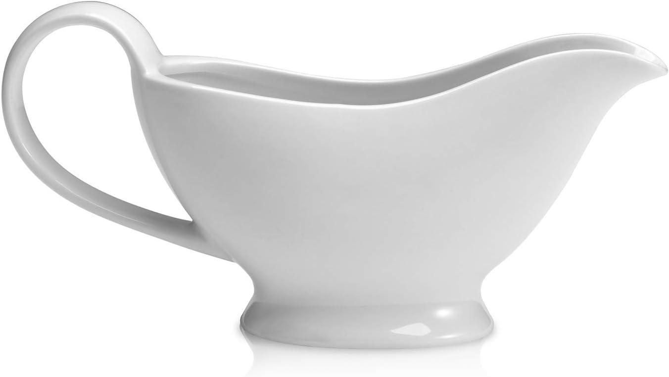 Miicol Ceramic Gravy Boat, White Porcelain Sauce Boat with Lip Spout for Gravy, Salad Dressings, Creamer, Milk, Broth, Black Pepper, Dishwasher Microwave & Oven Safe, 10 oz