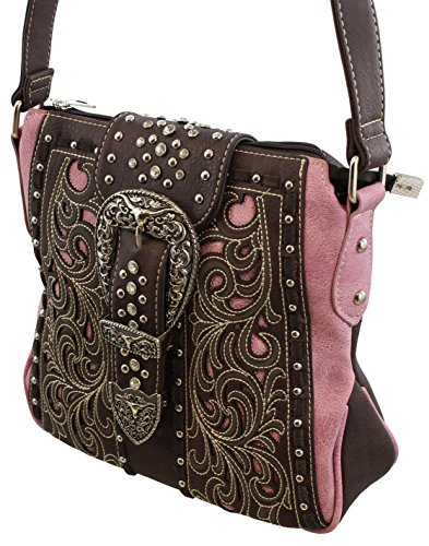 Tooled and Stitched Concealed Carry Handbag / Concealment Crossbody Messenger Purse - Concealment Crossbody
