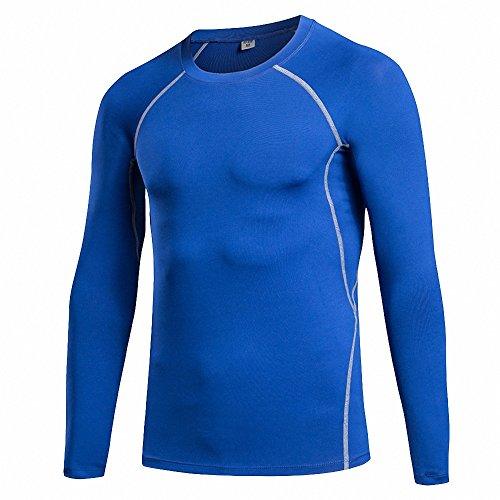 Maoko Men's Fitness Compression Baselayer Long Sleeves Athletic Shirts Royalblue
