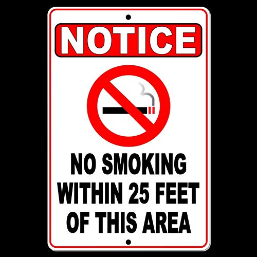 No Smoking Within Feet of This Area gn Notice Metal Safety Warning - Nba Figures Inch 12