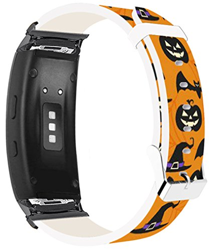 (Bands for Gear Fit2 Pro & Compatible Leather Strap for Samsung for Galaxy Gear Fit 2/Fit2 Pro Bands Black Connectors Kawaii Cute Pattern Halloween Hallowmas All Saints' Day)