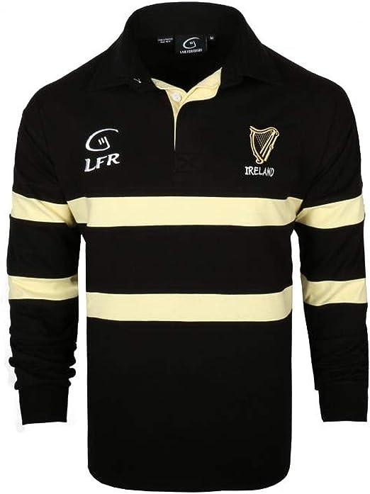 S-XXXL Ireland 3 Shamrock  Long Sleeve Rugby Shirt Navy//Green