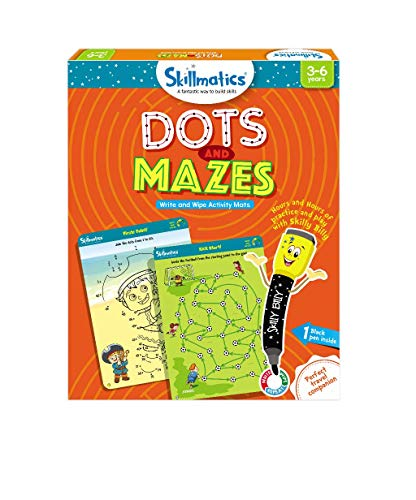 Skillmatics Educational Game: Dots and Mazes (3-6 Years) | Creative Fun Activities for Kids | Erasable and Reusable Mats