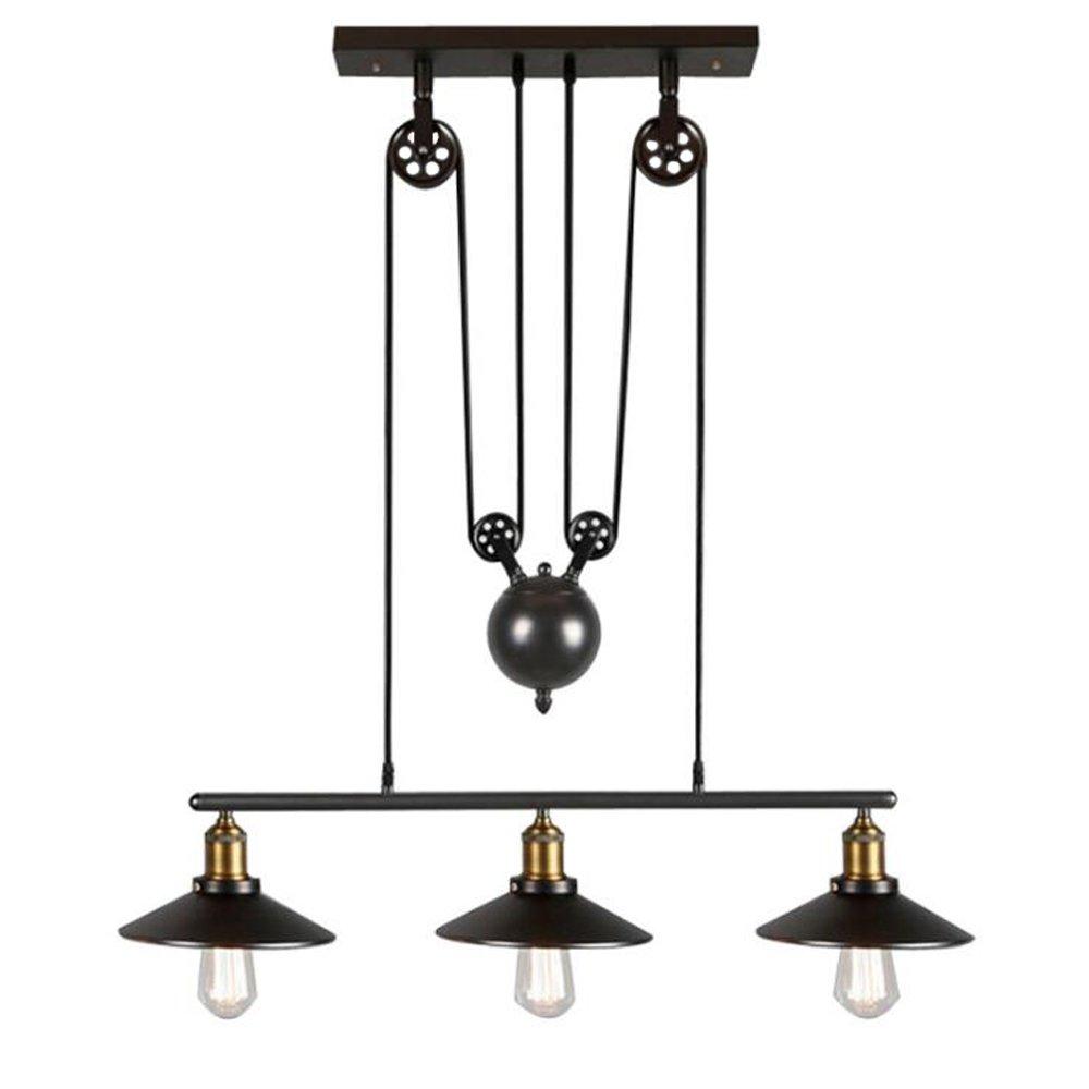 Iron Pulley Pendant Light Motent Industrial Vintage 3 Light