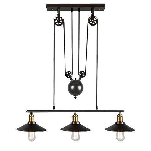 Iron Pulley Pendant Light, Motent Industrial Vintage 3 Light Retractable  Chandelier Adjustable Loft Hanging
