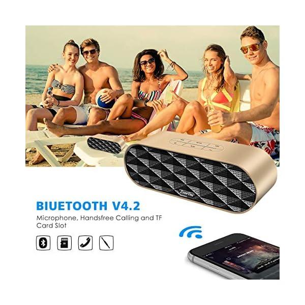 ZoeeTree S3 Enceinte Bluetooth portable, Bluetooth 4.2 EDR, avec Son 360°, 10W Haut Parleur Stéréo avec Audio Haute Définition et Basse Améliorée, Mains Libres Appel TF Carte Slot 3