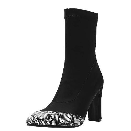 Botines de Calcetines tacón Ancho Grueso Alto cuña Mujer Invierno 2018 PAOLIAN Botas Militares caña Medio Botas Biker Patrón Serpiente Comodos Zapatos ...