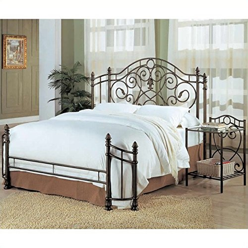 coaster queen size antique gold finish metal bed headboard footboard - Vintage Bed Frame