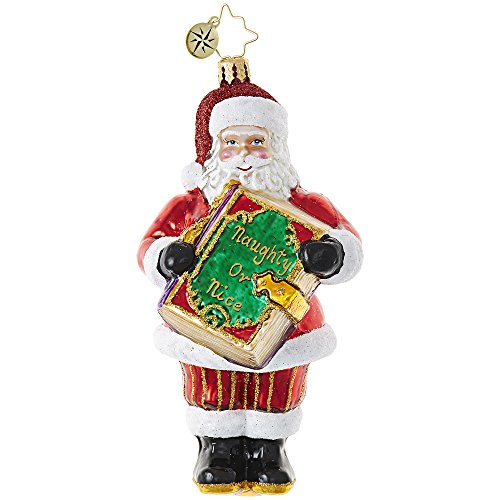 Radko Santa Naughty Or Nice Christmas Checklist Glass Ornament Made in Poland (Nice Christmas Ornament)