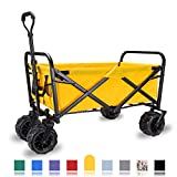 WHITSUNDAY Collapsible Folding Garden Outdoor Park Utility Wagon Picnic Camping Cart with Replaceable Cover (Standard Size(Plus+) 7' All Terrain Wheels, Yellow)