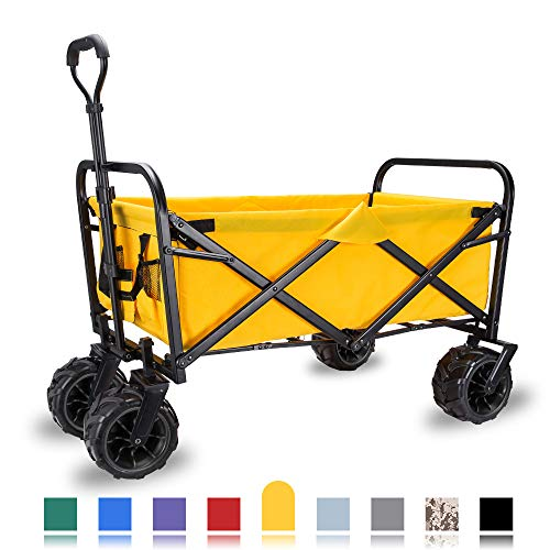 "WHITSUNDAY Collapsible Folding Garden Outdoor Park Utility Wagon Picnic Camping Cart with Replaceable Cover (Standard Size(Plus+) 7"" All Terrain Wheels, Yellow)"