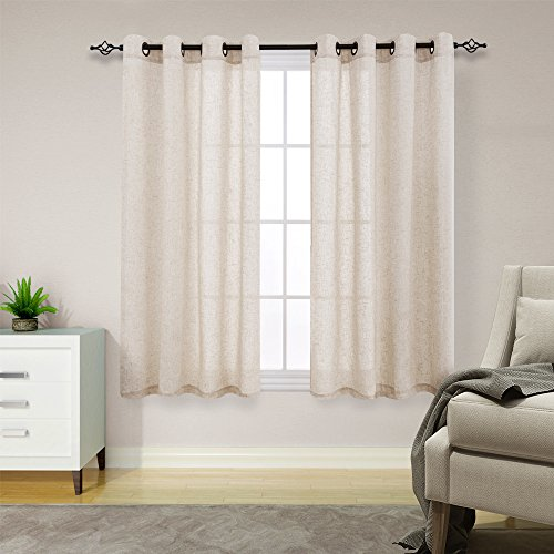 Linen Textured Curtains for Living Room Long Window Curtains Privacy Flax Linen Look Window Treatment Set for Bedroom Grommet Top 2 Panels 63 inches Crude (63 Curtain)