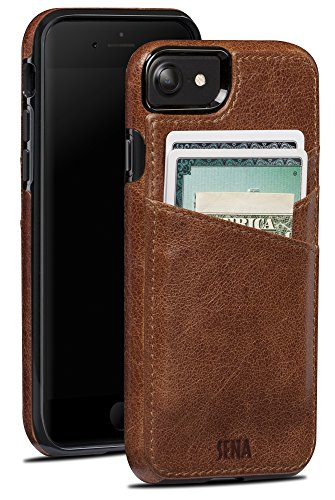 Sena Leather Iphone Cases - Sena Lugano Wallet, Drop Safe Leather Wallet snap on case for the iPhone 8 & 7 - Cognac