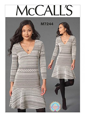 Mccalls Ladies Easy Sewing Pattern 7244 Stretch Knit Jersey Dress