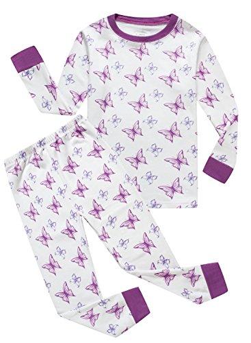 Butterfly Pajamas Sleepwear (Family Feeling Butterfly Little Girls Long Sleeve Pajamas Sets 100% Cotton Pyjamas Toddler Kids Pjs Size 4T White Purple)