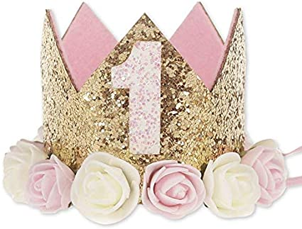 Girls 1st First Birthday Cake Smash Outfit Top Photo Shoot Prop Crown Set Gold