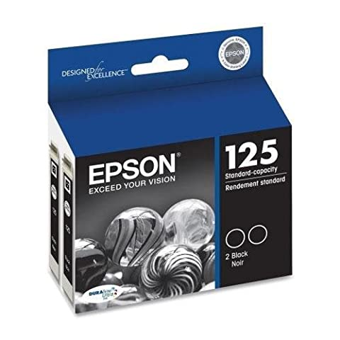 Epson DURABrite No. 125 Dual Pack Ink Cartridge - Black - Inkjet - 230 Page - 2 / Pack (Epson Wf 520 Black)