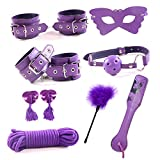 QIJIA Leather Restraint Kits Novelty Toy 8pc/Pack Under Bed Bondage Handcuffs Ropes Set for Adult Couples Games