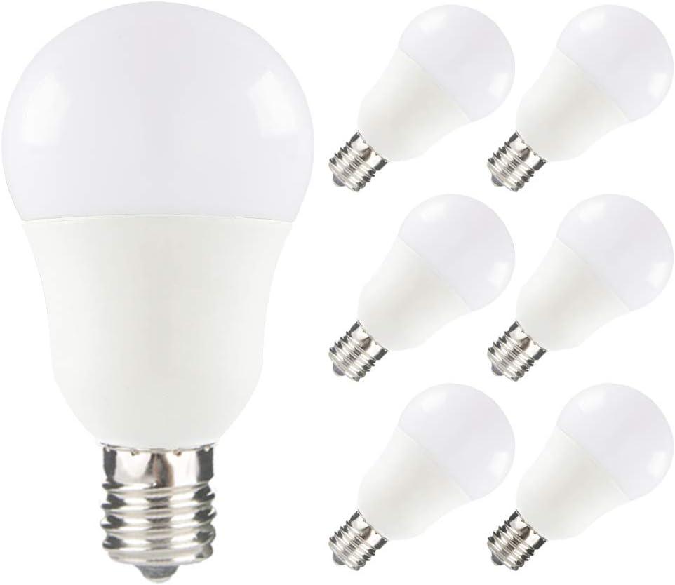 Yueximei E17 Globe Light Bulb, 8 Watt 75W Equivalent, 5000K Daylight, 750LM,Slender G14 LED Bulbs for Ceiling Fan, Chandelier Lighting, Not Dimmable, Pack of 6