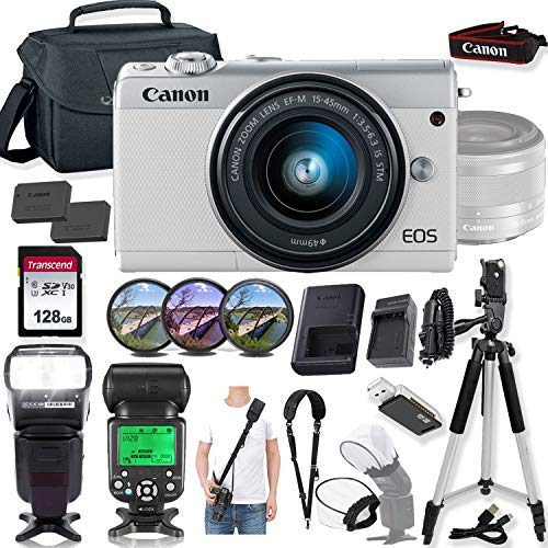Canon EOS M100 Mirrorless Digital Camera (White) and 15-45mm Lens w/High-Speed Flashlight + Prime Accessory Bundle