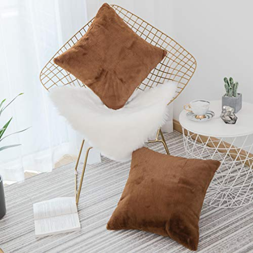 Home Brilliang Pack of 2, Soft Luxury Series Faux Rabbit Fur Throw Pillow Case Cushion Cover for Sofa Bedroom Car 18 x 18 Inch 45 x 45 cm, Brown