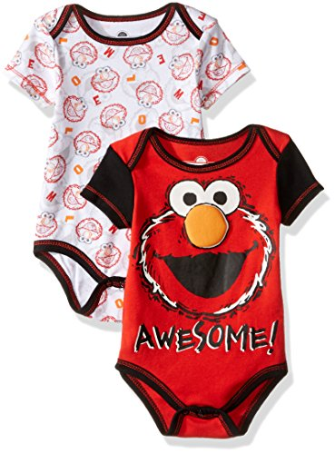 Sesame Street Baby Boys' Elmo 2 Pack Bodysuit Layette Set, Red, 0-3 Months