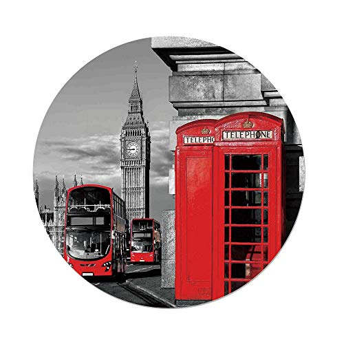 iPrint Polyester Round Tablecloth,London,London Telephone Booth in the Street Traditional Local Cultural Icon England UK Retro,Red Grey,Dining Room Kitchen Picnic Table Cloth Cover,for Outdoor (Mission Style Telephone Table)