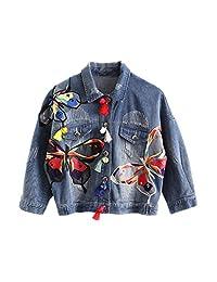 Women's Embroidery Butterfly Long Sleeve Bomber BF Short Denim Jacket Outwear