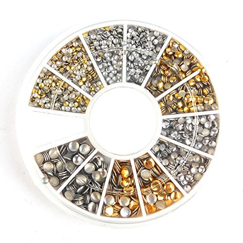 enForten 500Pcs 1.2mm/2mm/3mm Mini Gold And Silver Round Stud Rhinestone Nail Art Decoration w/box by enForten Ipsmate