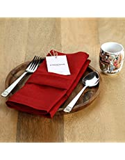 D'Moksha Homes 100% Pure Linen Festive Dinner Napkins, White & Red Set of 4, 20 x 20 inch, Natural European Flax, Machine Washable, Thanksgiving, Christmas, Themed Parties, Great Gift Choice