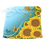 Dragon Sword Spring Sunflowers Butterflies Gift Bags Jewelry Drawstring Pouches for Wedding Party, 6x8 Inch
