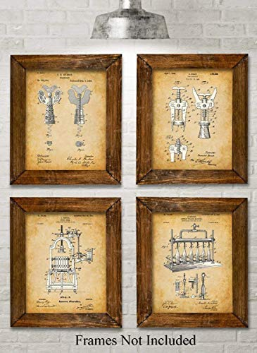 Original Wine Patent Art Prints - Set of Four Photos (8x10) Unframed - Makes a Great Gift Under $20 for Wine Lovers, Wine Cellars or Grottos